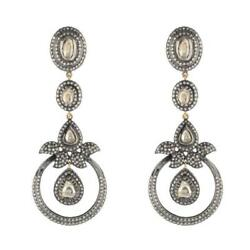 18k Gold Studded Diamond Earrings Sterling Silver Vintage Style Jewelry For Her