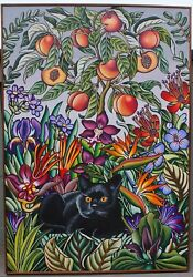 Phoebe Brunner Black Cat Under A Peach Tree 1981 Acrylic Painting On Canvas