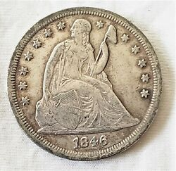 1846 Seated Liberty Silver Dollar Estate Find Low Mintage