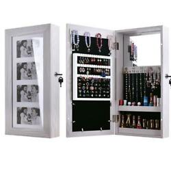 24quot; Lockable Wall Mount Mirrored Jewelry Cabinet Organizer Armoire Storage Box