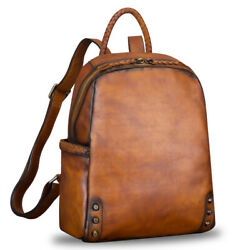 Genuine Leather Backpack Purse for Women Vintage Handmade Casual Satchel $168.00