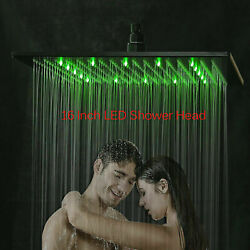 16-inch Led Shower Head Ceiling/wall Mounted Matte Black Rainfall Square Sprayer