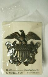 Rare Ww2 Us Navy Medical Officer Hat Badge - Attached To Marine Corps - Pasquale