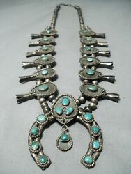 Early Womenand039s Vintage Navajo Turquoise Sterling Silver Squash Blossom Necklace