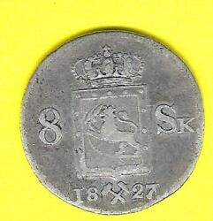 1827 Carl Johan 14th King Of Norway Sweden The Goths And Wends 8 Skilling Coin