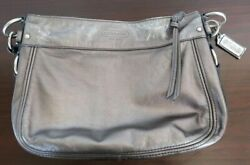 Small Coach Handbag Leather Pewter As Is $39.90