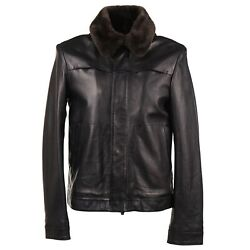 Isaia Black Cashmere-lined Leather Jacket With Fur Collar M Eu 48 Nwt 4995