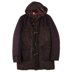 Isaia Down-filled Wool And Suede Leather Toggle Coat L Eu 52 Parka Nwt 5495