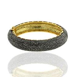 26.01ct Studded Diamond 18k Gold Sterling Silver Bangle Ethnic Jewelry For Her