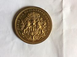 1913 25.th. Anniversary Of The Namburg Custom Gold Plated On Copper Medal 43mm
