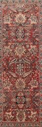 Antique Traditional Mahal Sarouk 10 Ft. Runner Rug Hand-knotted Wool 4and039x10and039