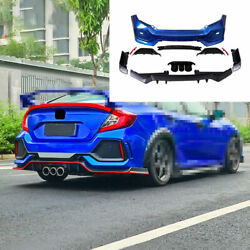 For 2016-2020 Honda Civic Type-r Abs Blue Outer Rear Bumper Diffuser Board Guard