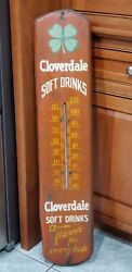 Vintage Cloverdale Soft Drinks Advertising Thermometer Soda 🍀 Rare