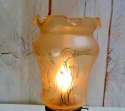 2 1/4 Fitter Lamp Globe For Fixture Floral Pattern Amber Shade