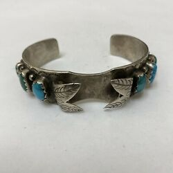 Vintage Navajo Sterling Silver Turquoise Row Watch Band Cuff Bracelet