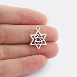 30pcs Antique Silver Star Of David Charms Pendants For Jewelry Making 2216mm