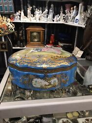 Antique French Sevres Style Bronze Porcelain Turquoise Colours Hand Painted Box