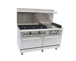 Falcon Food Service 60 Gas Range W/ 24 Right Side Griddle And 2 Standard Ovens