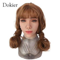 Dokier Realistic Female Face Props Silicone Headgear Halloween Hoods Cosplay