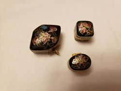 3 Piece Chinese Cloisonne Enamel Metal Black Gold And Pink Trinket Boxes