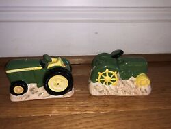 John Deere Tractor Salt And Pepper Shakers Ceramic New Without Box