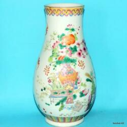 Chinese Porcelain Antique 19thc Famille Rose Vase Jia Qing Marked