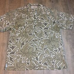 Tommy Bahama Mens Size LG 100% Silk Short Sleeve Button Up Camp Shirt $29.97