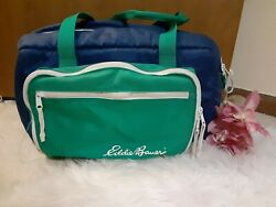 Vintage Eddie Bauer Green And Blue Picnic Cooler Outdoor Hiking Fishing Bag 90's