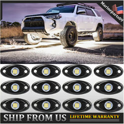 12 Pods Led Rock Lights Underglow White For Jeep Atv Offroad Underbody Light