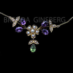 Antique Edwardian Necklace 15ct Gold Amethyst Peridot Pearl Suffragette 6923