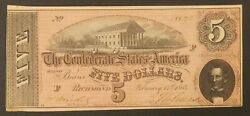 1864 5 Confederate States Of America Richmond Paper Money Bank Note Currency