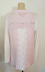 FREE PEOPLE PINK LACE CROCHET WOOL BLEND CARDIGAN SWEATER L nordstrom $9.99