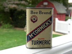 Vintage 1936 Mccormick Bee Brand Old Advertising Tin Can Kitchen Spicetumeric