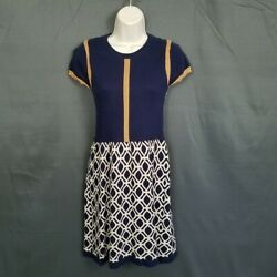 THML Medium Navy amp; Tan Cotton Sweater Dress Pull Over Casual Career $15.99