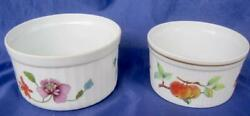 Royal Worcester Evesham And Astley 2 Porcelain Round Souffle Serving Dishes Uk
