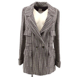 01a 36 Cc Logos Button Tweed Long Sleeve Jacket Coat Brown White Y04469