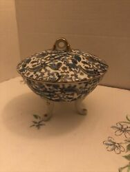 Vintage Lefton China Kf2142 Hand Painted Blue Pasley Footed Dish W/ Lid