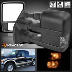 For 2008-2016 F250 F350 F450 Superduty Smoke Signal+power+heated Tow Mirrors