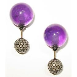 14k Gold Diamond Ball Natural Amethyst Double Sided Earrings Silver Jewelry Gift