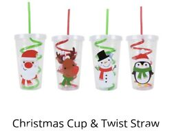 2 X Christmas Travel Cup Beaker With Spiral Straw 100 Food Grade Plastic