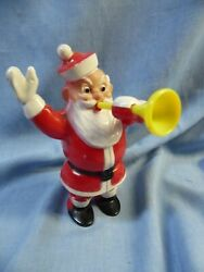 Vtg Retro Rosbro Santa Blowing Yellow Horn Hard Plastic Candy Container Holder