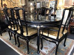 Asian Black Lacquer Dinning Room Table W/six Chairs