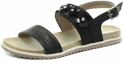 New Cipriata Angela Black Reptile Print Flower Womens Sandals ALL SIZES