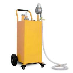 35 Gallon Gas Fuel Diesel Caddy Transfer Tank W/ 2 Front Caster/rotary Hand Pump