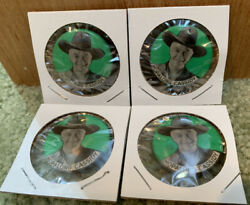 Four 1950's Vintage Hopalong Cassidy 1.25 Pin Lot Original 70 Years Old Green