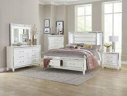 4 Pc White Mirrored Led Lights Queen Storage Bed Ns Dresser Bedroom Furniture