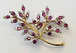 Estate18kt Yellow Gold Diamond And Ruby Tree Branch Brooch