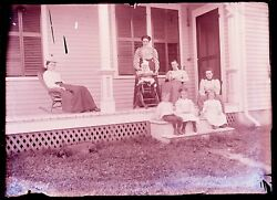 1 Late 1800s, Early 1900s Glass Negative, 2nd 4 Woman, 4 Kidss, 1 Dog, Porch