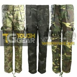 Kids Camo Combat Trousers Children Army Uniform Cargo 6 Pockets Pants Camouflage $18.27