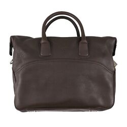 Canali Soft Chocolate Brown Grained Leather 24-hour Overnight Travel Bag Nwt
